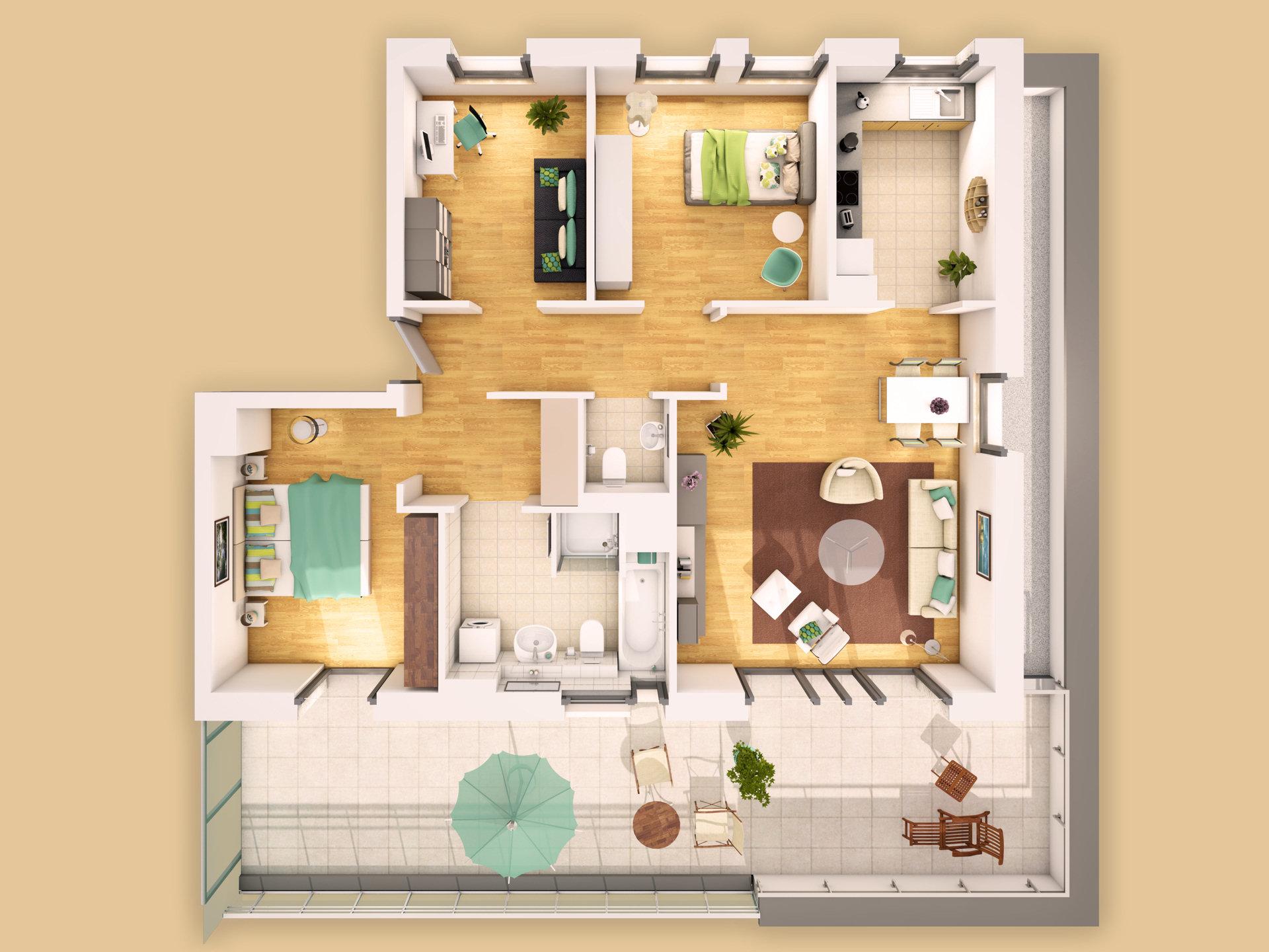 Einfamilienhaus grundriss 3d  Modelldigital | Architekturvisualisierungen Lübeck | 3D-Grundrisse ...