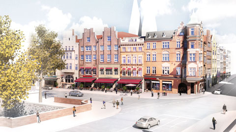Visualisierung Lübeck Alstadt - Illustration Umbau Trave-Quartier