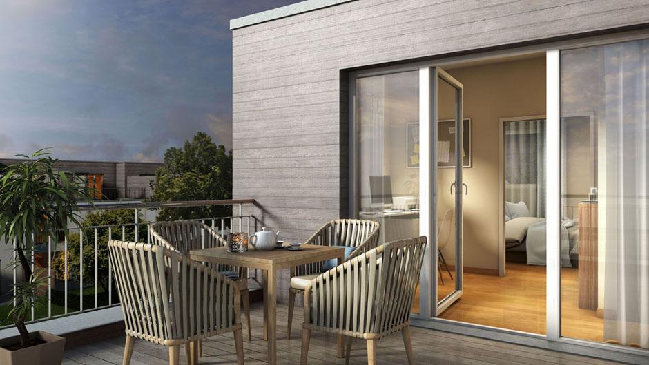 3D Architektur Rendering Dachterrasse Der Stadthäuser / Reihenhäuser ·  Visualisierung 3D Grundriss