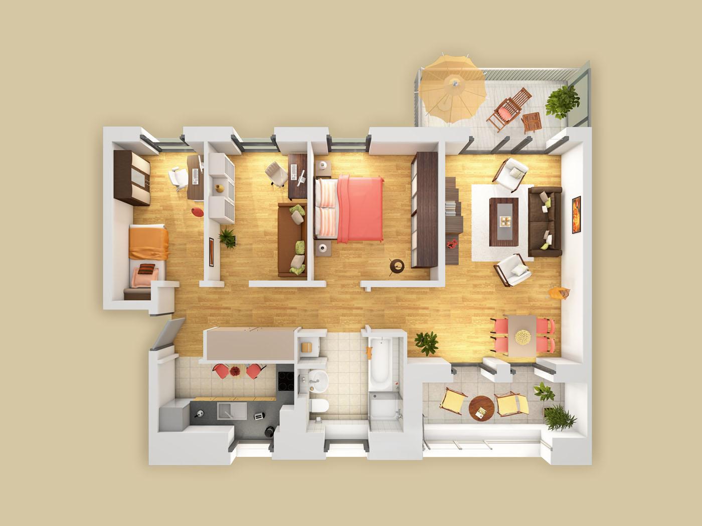 Architektur-Visualisierungen | 3D-Grundriss | Innenraum ...